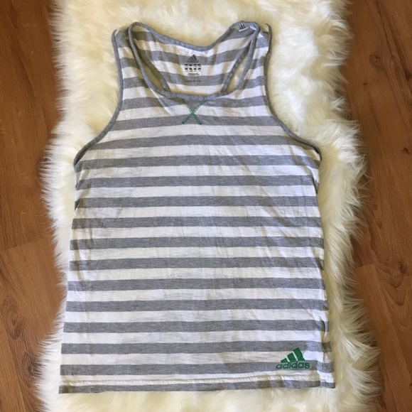 adidas Tops - ❌SOLD❌ ADIDAS GREY STRIPE RACER BACK TANK TOP